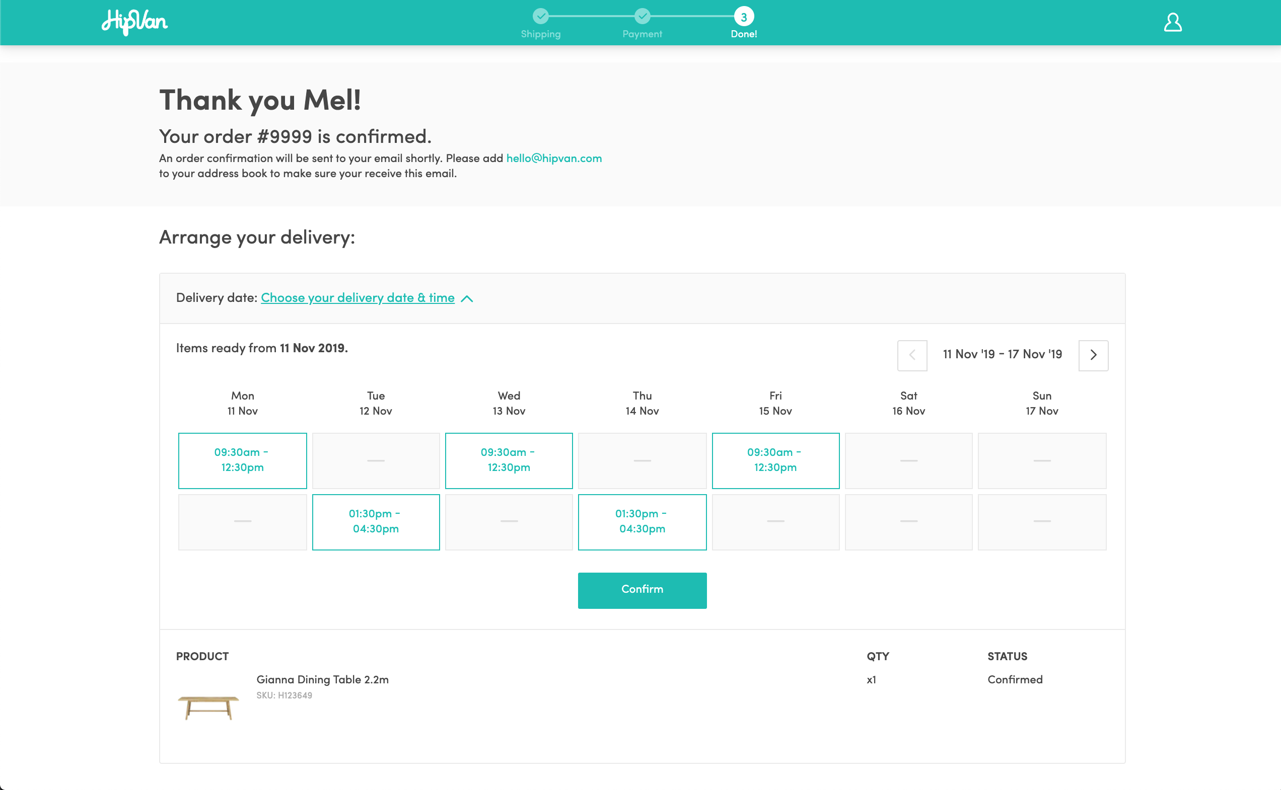 Screenshot of delivery scheduler calendar
